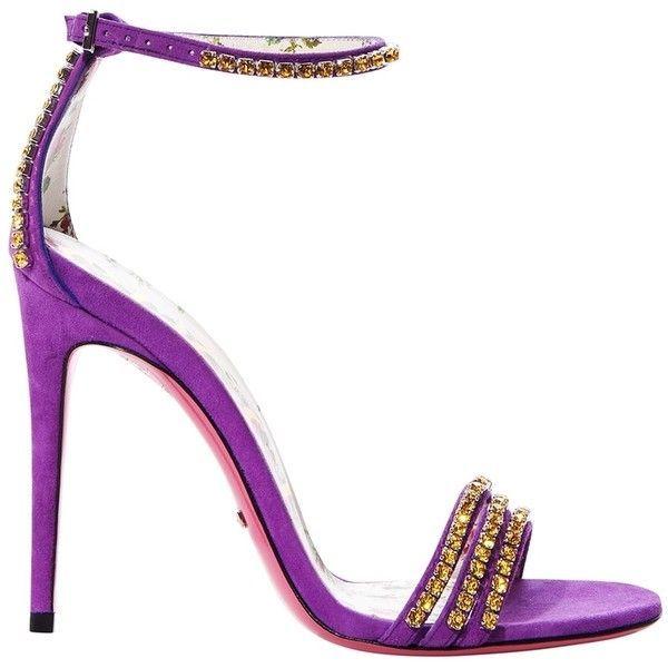 1a2bac868b52 Gucci Purple Crystal Embellished Suede Heel ( 1