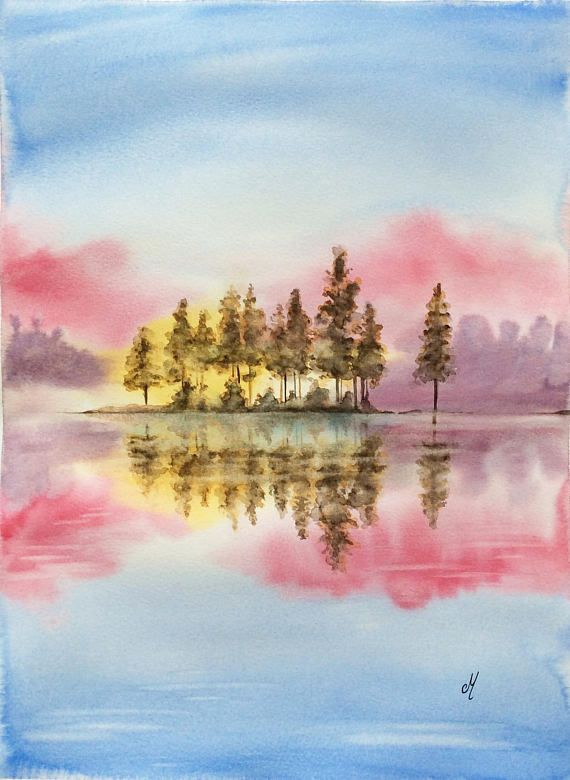 Water Reflection Watercolor Original Watercolor Painting