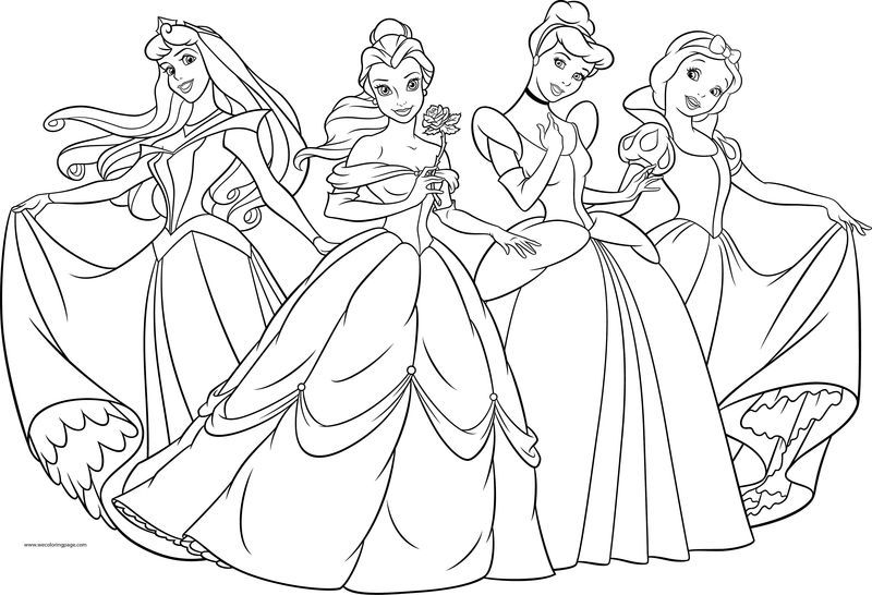 Four Disney Princess Coloring Page Princess Coloring Pages Disney Princess Colors Disney Princess Coloring Pages