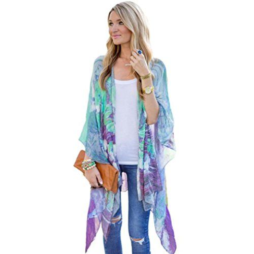 Women Sweater CoatBeautyvan Casual Print Kimono Loose Cardigan ...