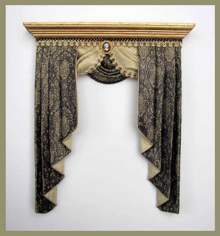 CORNICE~ Dollhouse Miniature ~ 1:12 scale ~ Room Box WINDOW  CURTAIN  VALANCE