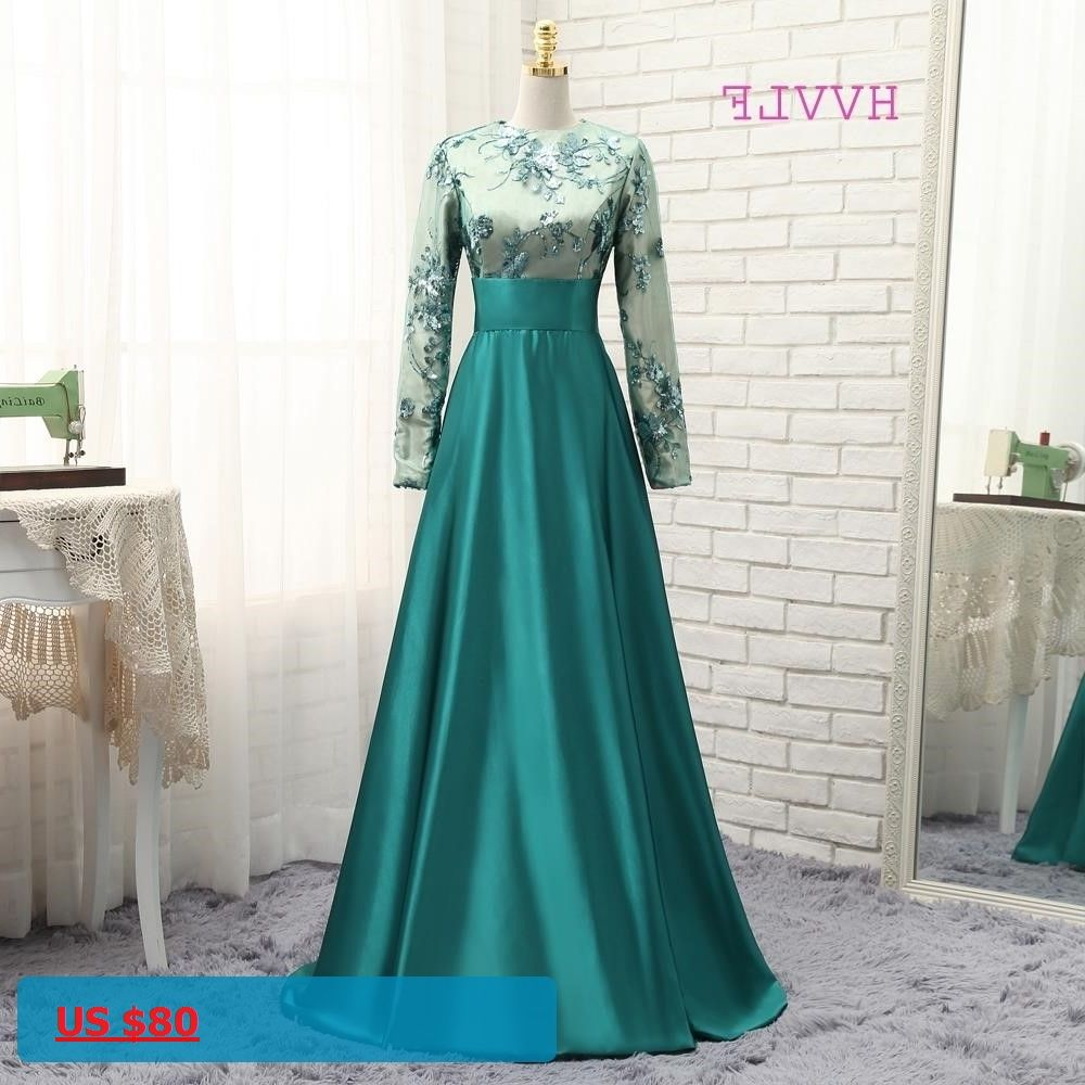 Hvvlf green muslim evening dresses aline long sleeves satin