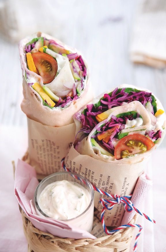 Recette lunchbox : wraps végétariens au tzatziki | Recette ...