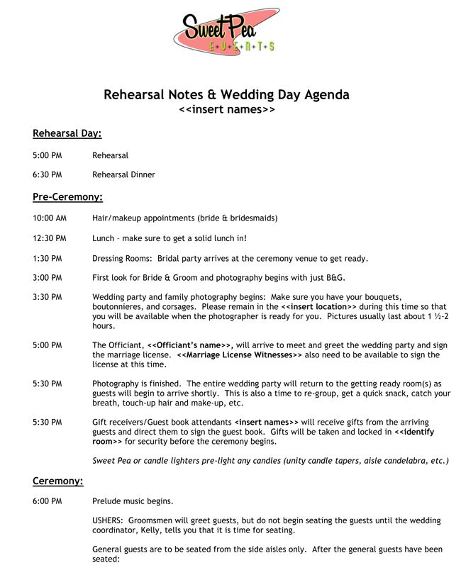 Great ideas for wedding timeline agenda @Bobbie Jo Dobbs let me - wedding schedule template