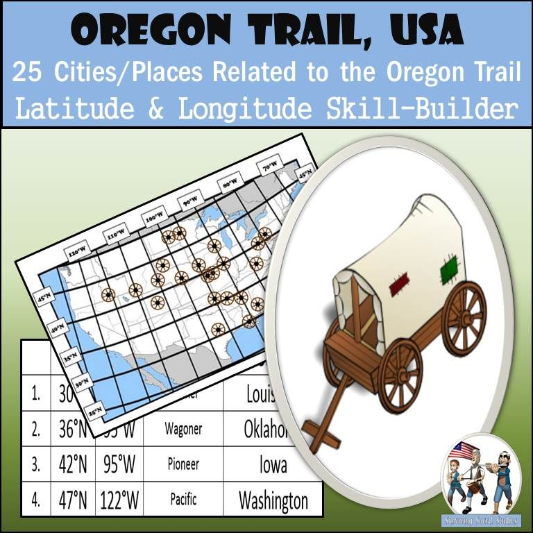 Latitude and Longitude Activity - Oregon Trail, USA | Oregon trail ...