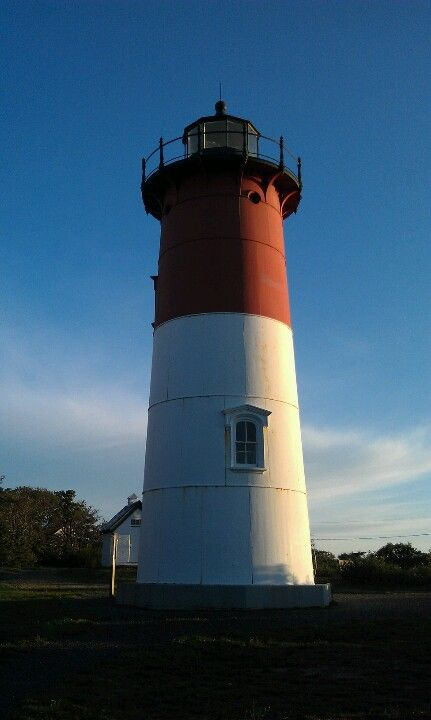 Red and white lighthouse...