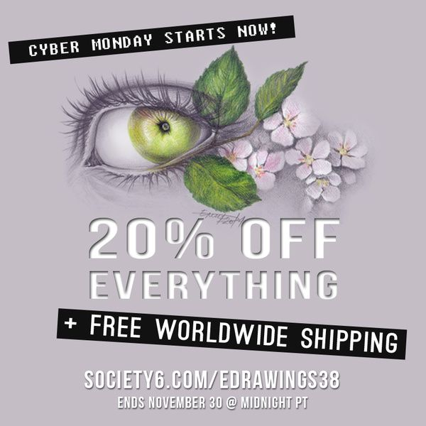 ★Get 20% OFF EVERYTHING + FREE Shipping on Society6!★ // Ends November 30 @ Midnight PT //  #cybermonday  #sale #freeshipping #savings #gifts #shopping #shop #uniquegifts #giftideas #promo #holiday #Christmas #society6 #edrawings38 #offer #deal