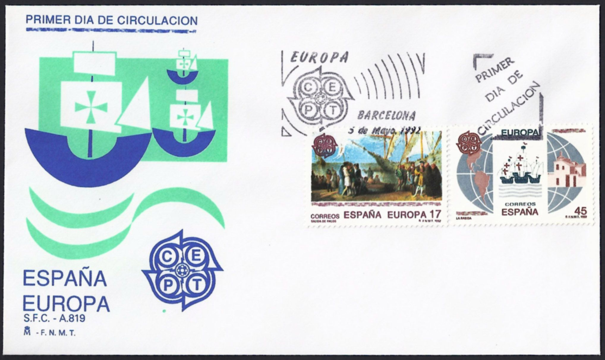Spain First Day Cover Scott 267576 (05 May 1992