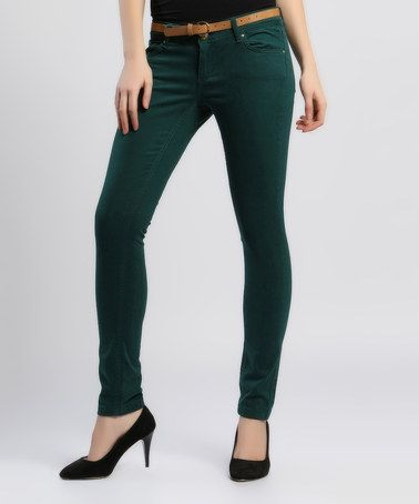 Love this Khaki Green Skinny Jeans on #zulily! #zulilyfinds