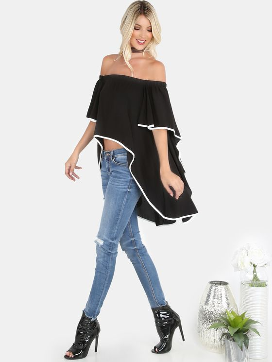 Online shopping for Contrast Lined Bardot Waterfall Top BLACK from a great selection of women's fashion clothing & more at MakeMeChic.COM.