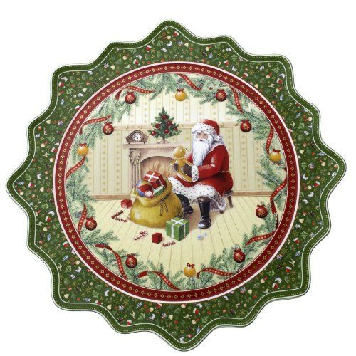 """VILLEROY & BOCH Toy's Fantasy Large Pastry Plate - Santa at the Fireplace by Villeroy & Boch - Porcelain. $59.99. Dimensions: 16 1/2"""". Brand New - First Quality. Large Pastry Plate - Santa At The Fireplace - Red And Green Seasonal Pattern - Dishwasher & Microwave Safe"""