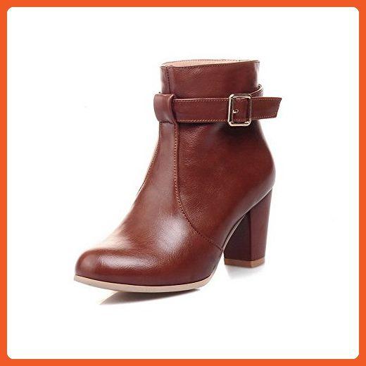 Women's Zipper High-Heels PU Solid Low Top Boots Brown 39