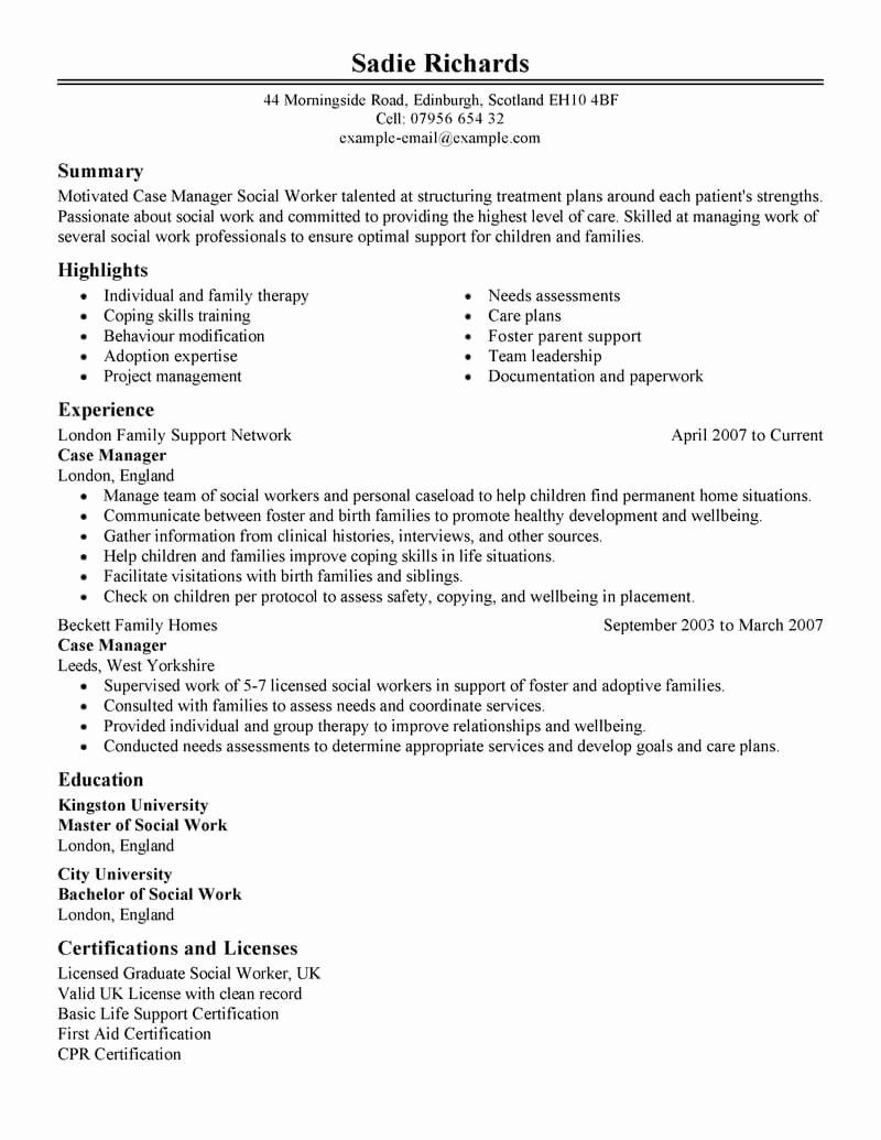 25 Entry Level social Work Resume in 2020 Project