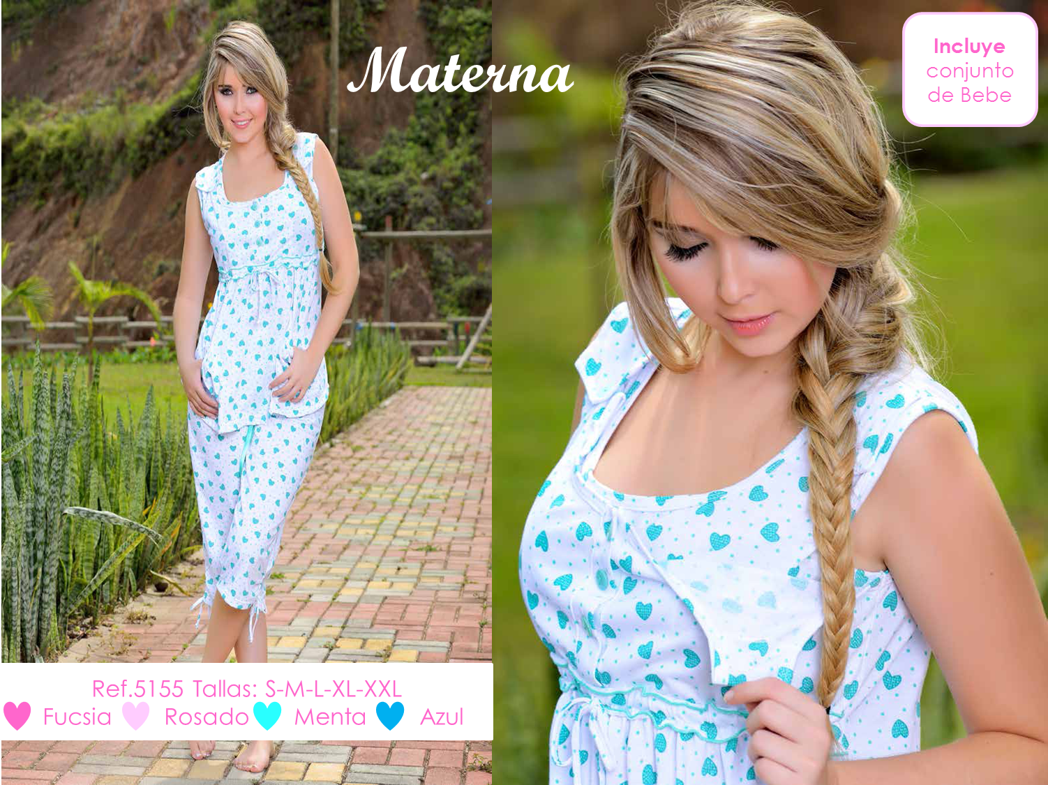 Hermosa Pijama Materna varias tallas, Incluye conjunto Bebe.
