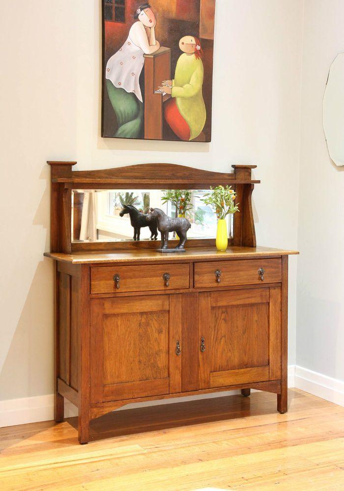 Antique Vintage Arts Amp Crafts Oak Mirror Back Sideboard