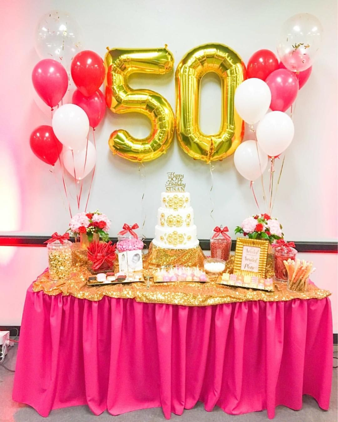 Golden Fifty Theme Candy Buffet