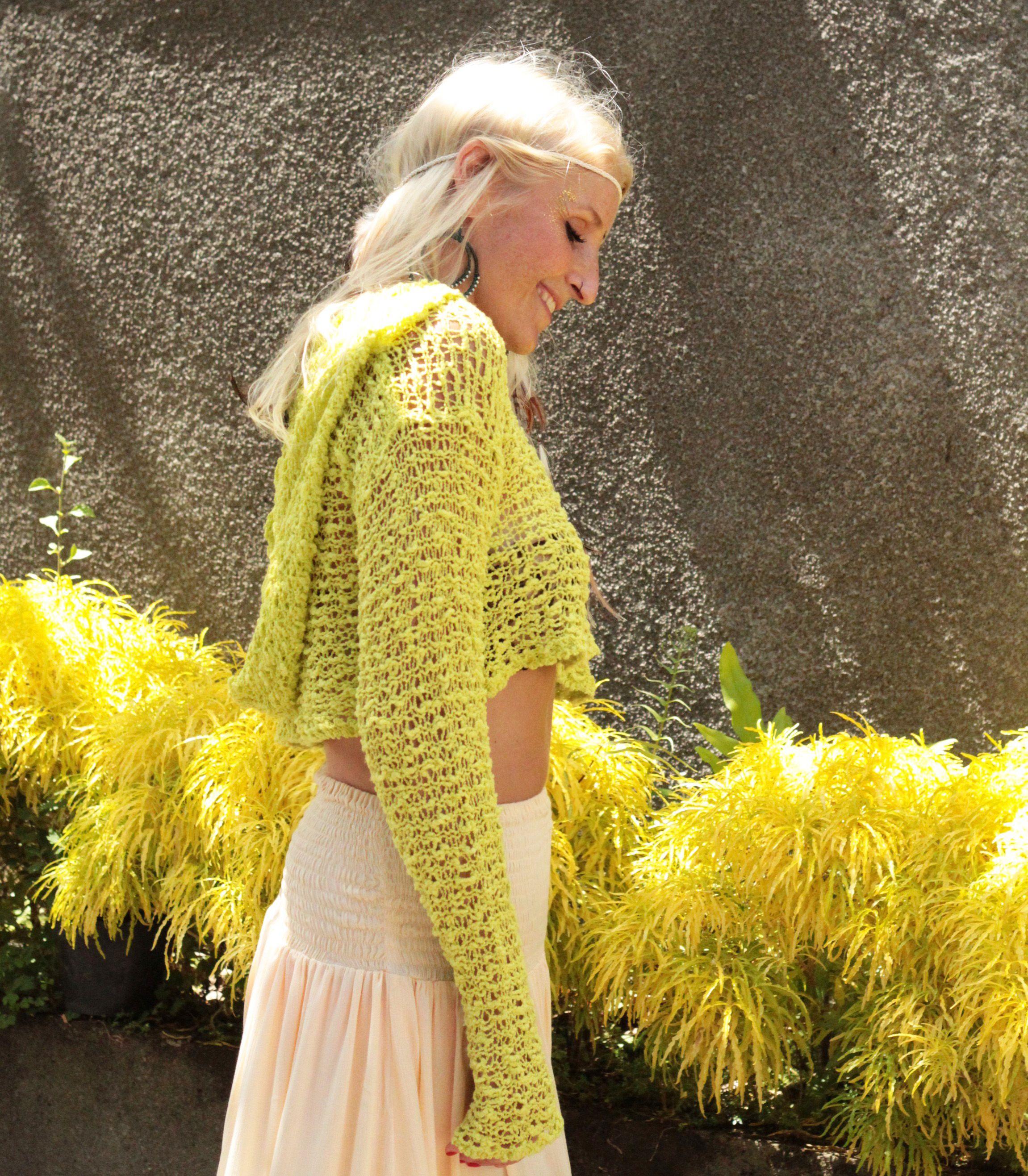 buy popular 37ac7 bbdc7 Feenhafte Mode, Crop Hoodie Yellow, Kurzer Kauzenpullover ...