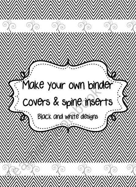 fully editable black and white binder covers with spine