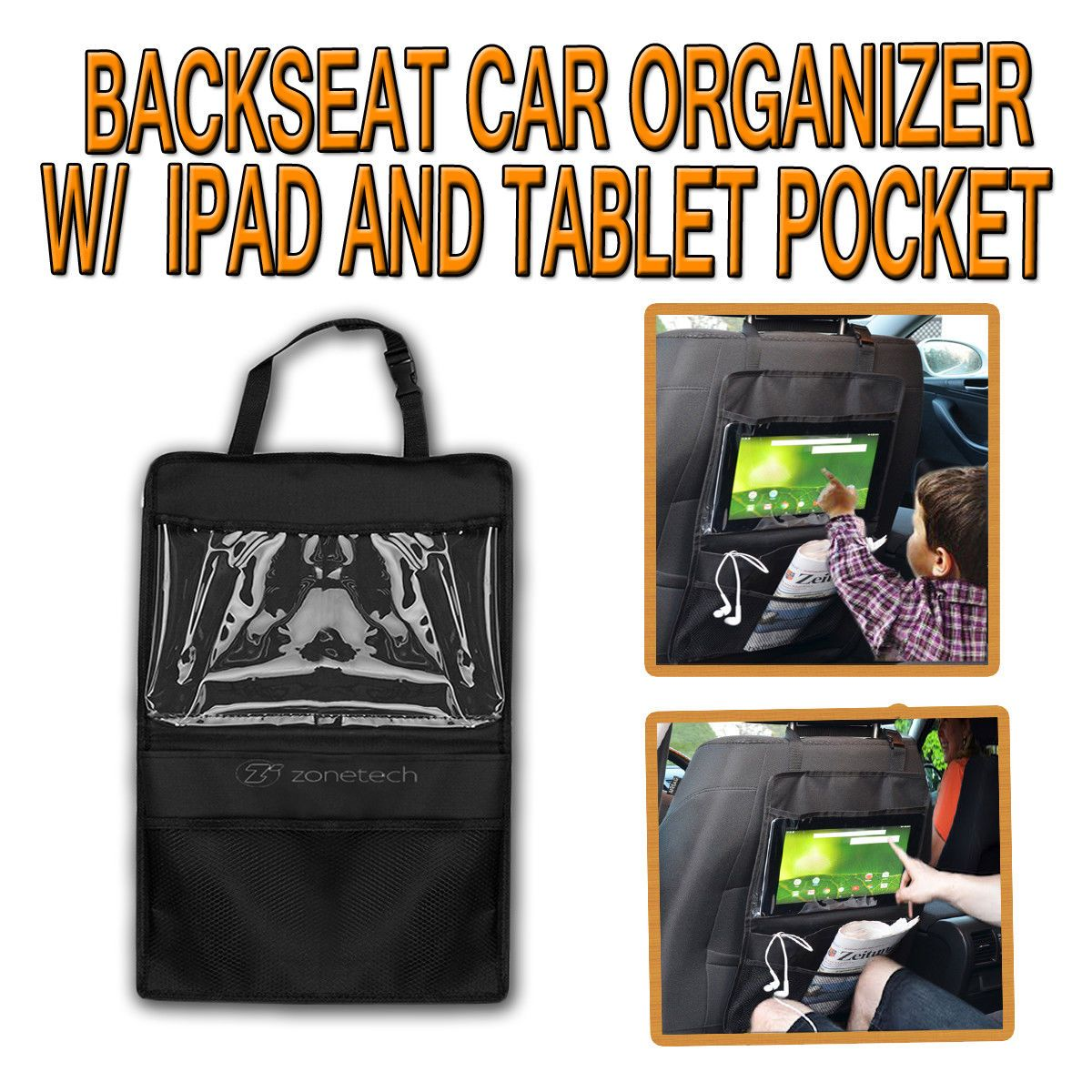 Zone Tech Car Back Seat Tablet Organizer Ipad Case Sleeve Pouch Drive Holder