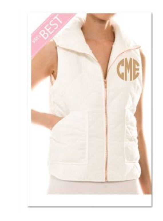 e16cf6c2e2c Monogrammed Personalized White Quilted Vest by thepurplepetunia Monogram  Jacket