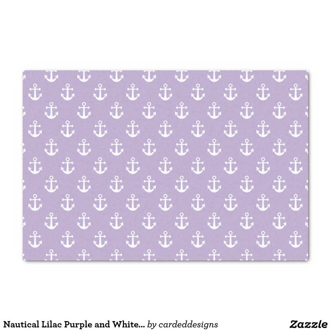 "Nautical Lilac Purple and White Anchor Pattern 10"" X 15"" Tissue Paper"