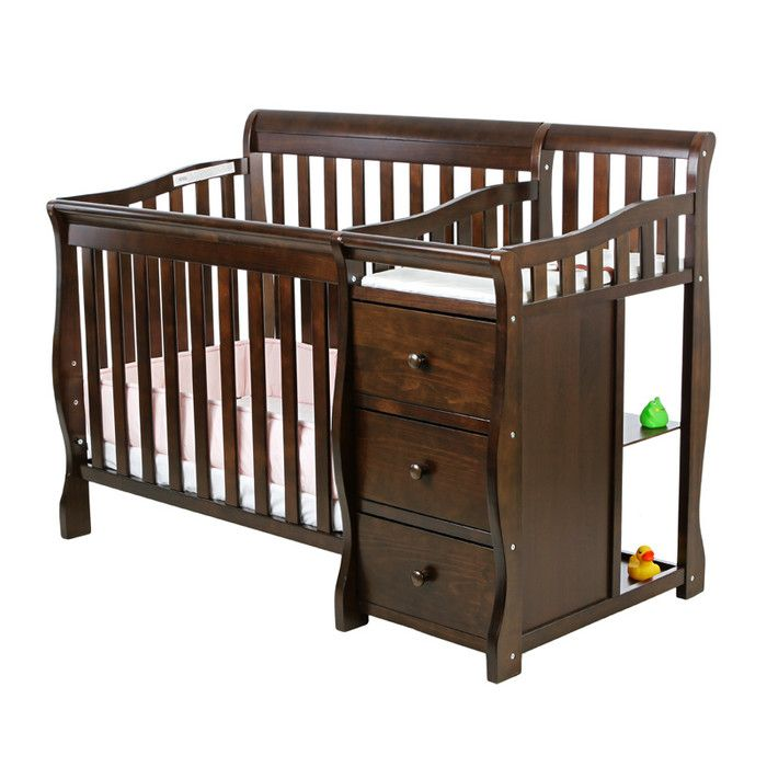 Dream On Me Jayden 2 In 1 Mini Convertible 2 Piece Crib Set Reviews Wayfair Portable Crib Cribs Crib And Changing Table Combo