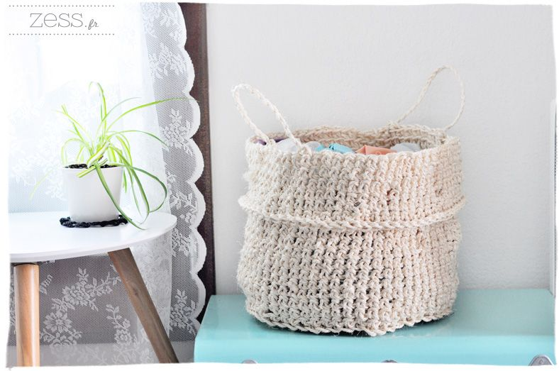 diy tuto le panier rond fa on osier au crochet. Black Bedroom Furniture Sets. Home Design Ideas