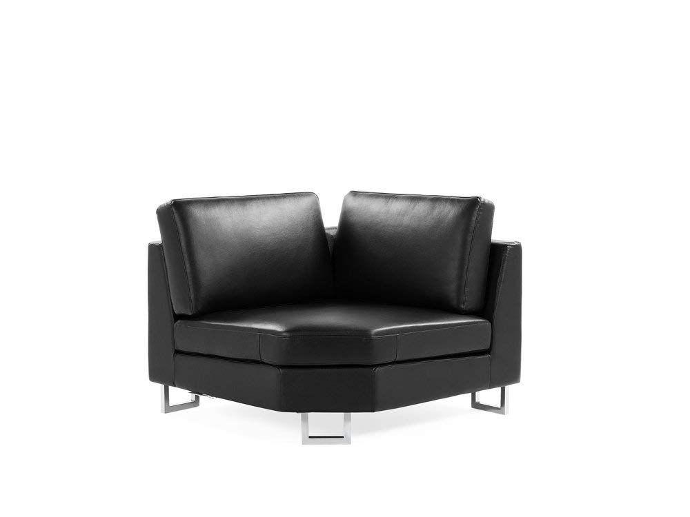 Left Hand Corner Leather Sofa Black Stockholm Beliani Amazon Co Uk Kitchen Home Black Sofa