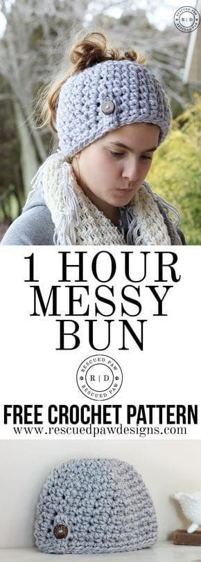 Messy Bun Hat Crochet Pattern Put your hair in a bun and make this free crochet pattern for a messy bun hat / ponytail beanie that is easy! This easy bun hat is great for beginners! #messybuns