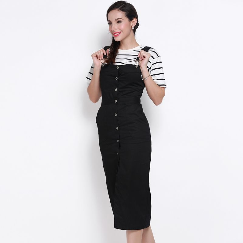 d67ffffe1 Womens Suspender Skirt Single Button Slim High Waist Midi Pencil Skirt OL  ladies Knee length Solid Black Overalls 1H510