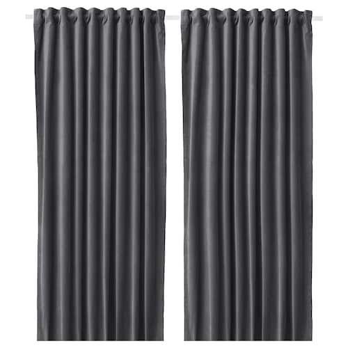 Ikea Hugad Black Curtain Rod Room Darkening Curtains Thick