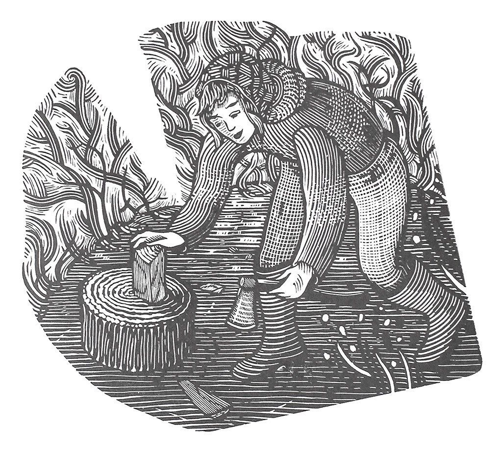'Girls That Axe', a limited edition wood engraving by Jonathan Ashworth https://www.stjudesprints.co.uk/collections/jonathan-ashworth/products/girl-with-axe