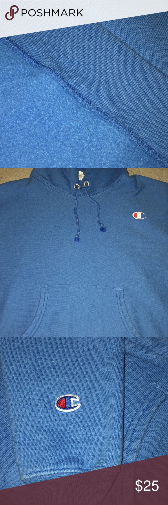323a1fd62803 Champion Reverse Weave Groove Blue Hoodie Good Condition! Barely used (Size  S but fits XS) Champion Tops Sweatshirts   Hoodies