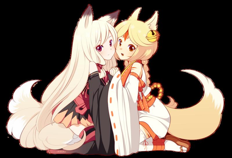 kitsune - FOX GIRLS!! kawaii anime chibi cute fox girl ...