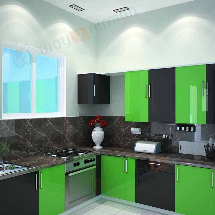 Simple Kitchen Interior Design For 1bhk House With Bright Color