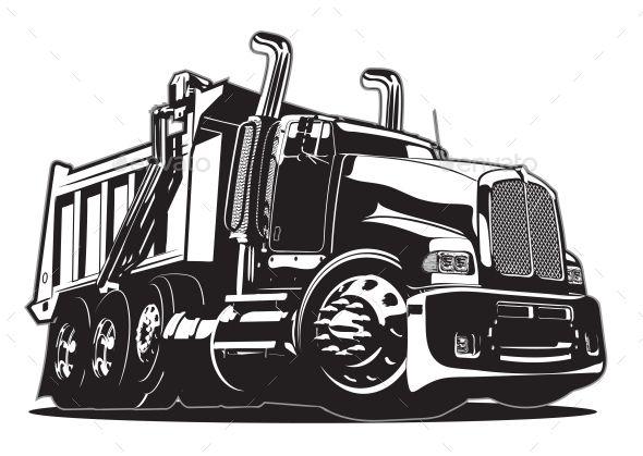 Vector Cartoon Dump Truck Man Made Objects Objects