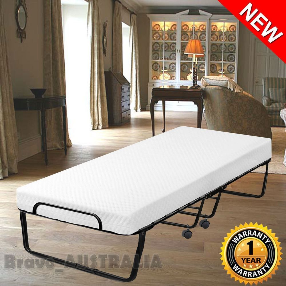 Portable Folding Single Bed W Mattress Wheels Camping Guest Metal