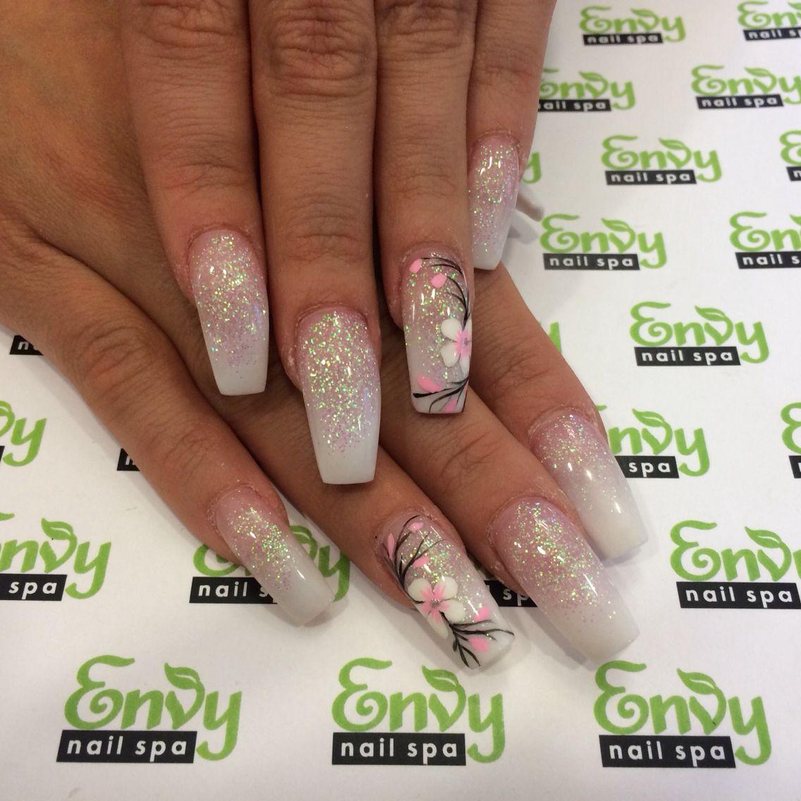 Pink White Flowers Glitter Nails Envy Nail Spa Nails Butterfly Nail Designs Nail Spa