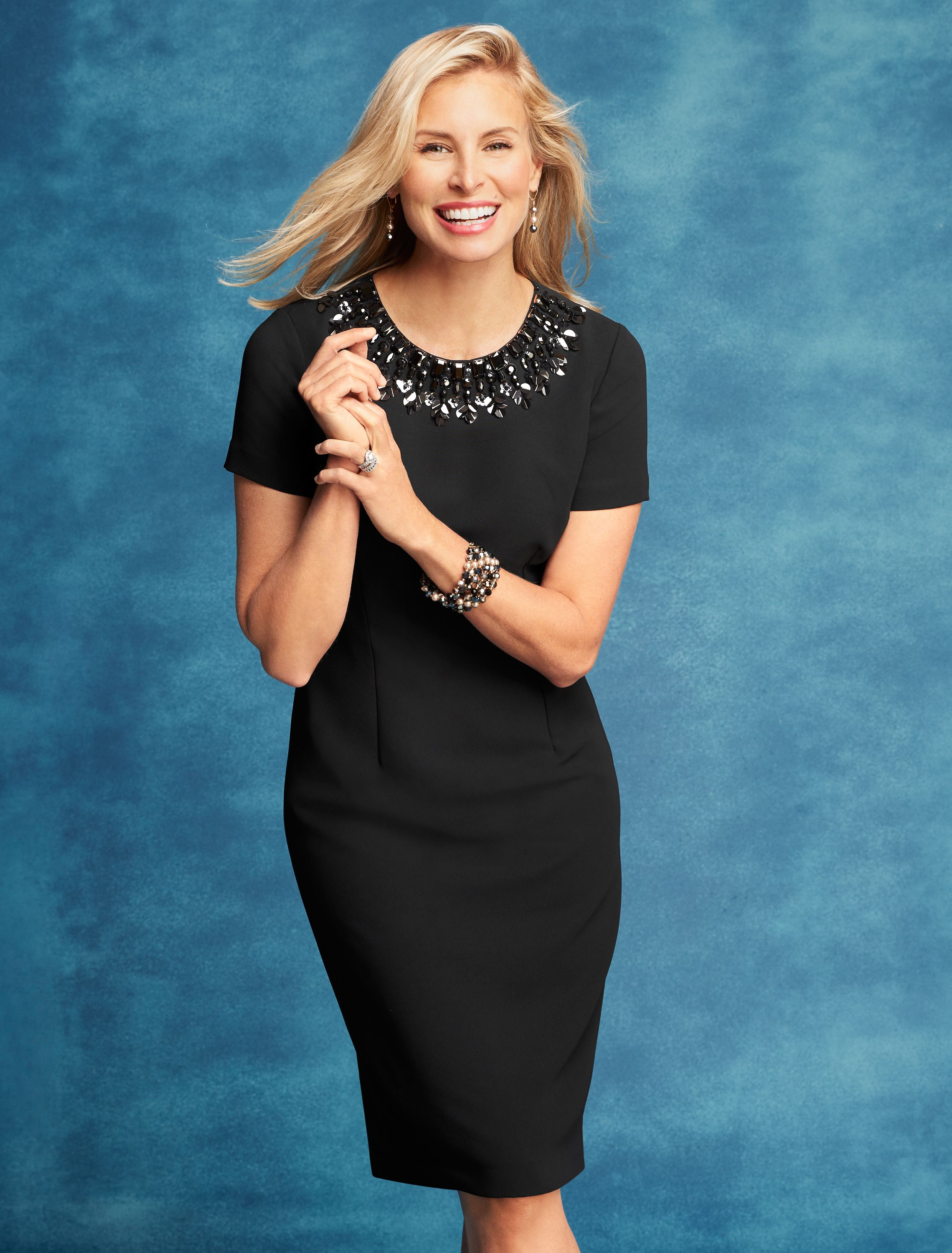 Simple Stylish And Tailored To Flatter This Crepe Sheath Dress Goes From Work To Dinner With Ease A Jewel D Night Out Outfit Classy Dresses Talbots Outfits [ 3263 x 2480 Pixel ]