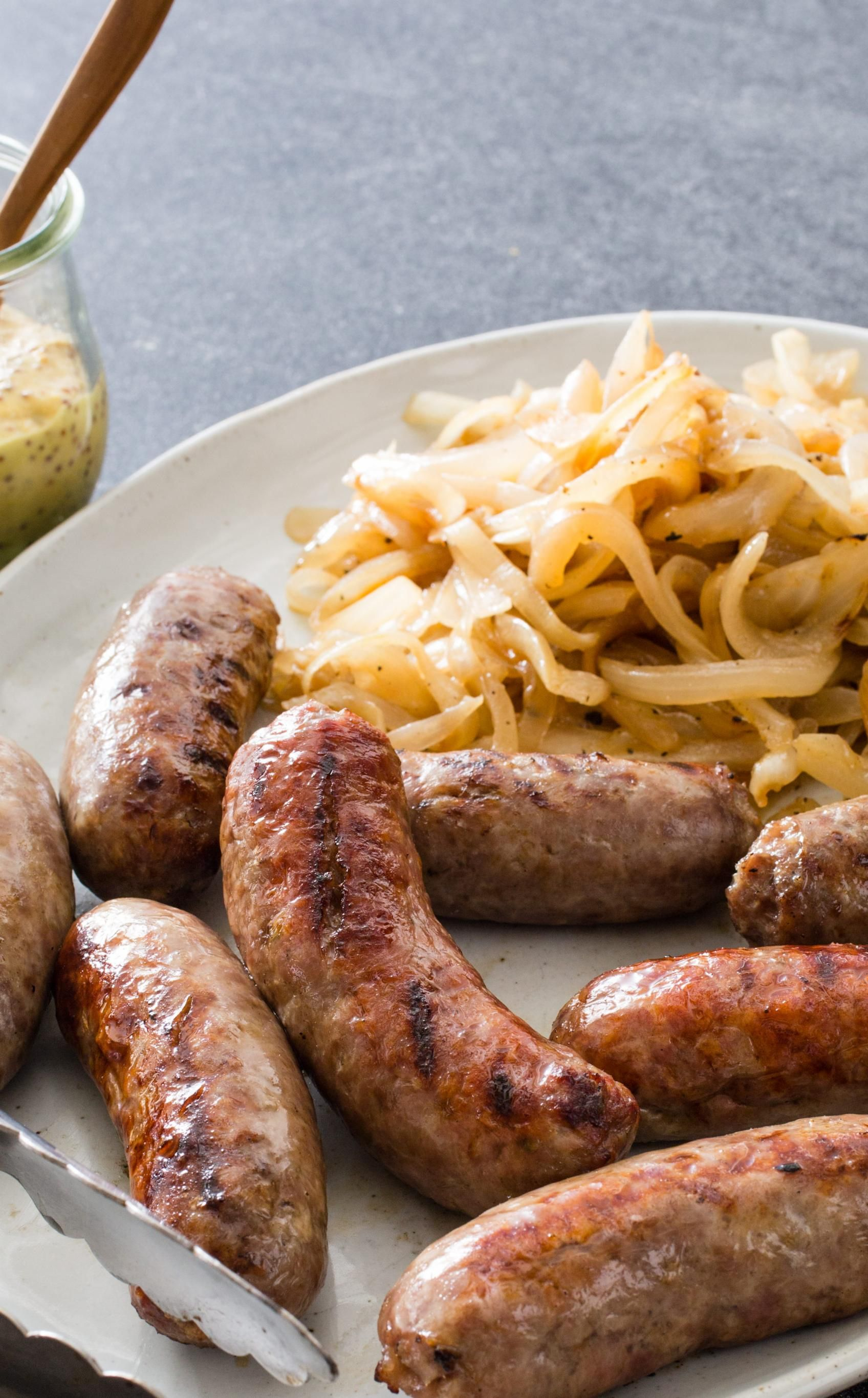 Charcoalgrilled sausages and onions we wanted a
