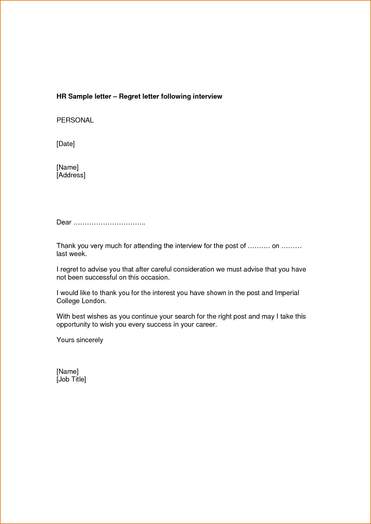 Employment Application Rejection Letters Searching For Proposal