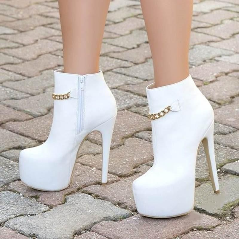 #Shoespie Womens – Shoespie Shoespie Sexy White Side Zipper Plain Stiletto Heel Platform Ankle Boots