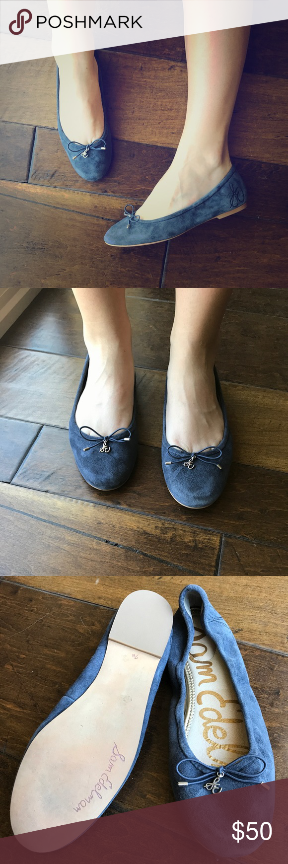 3e3222baaeb42d Sam Edelman Ballet Flats Sam Edelman  Felicia  ballet flats. Lovely purple-blue  suede color. These flats are very soft and have excellent heel cushioning.