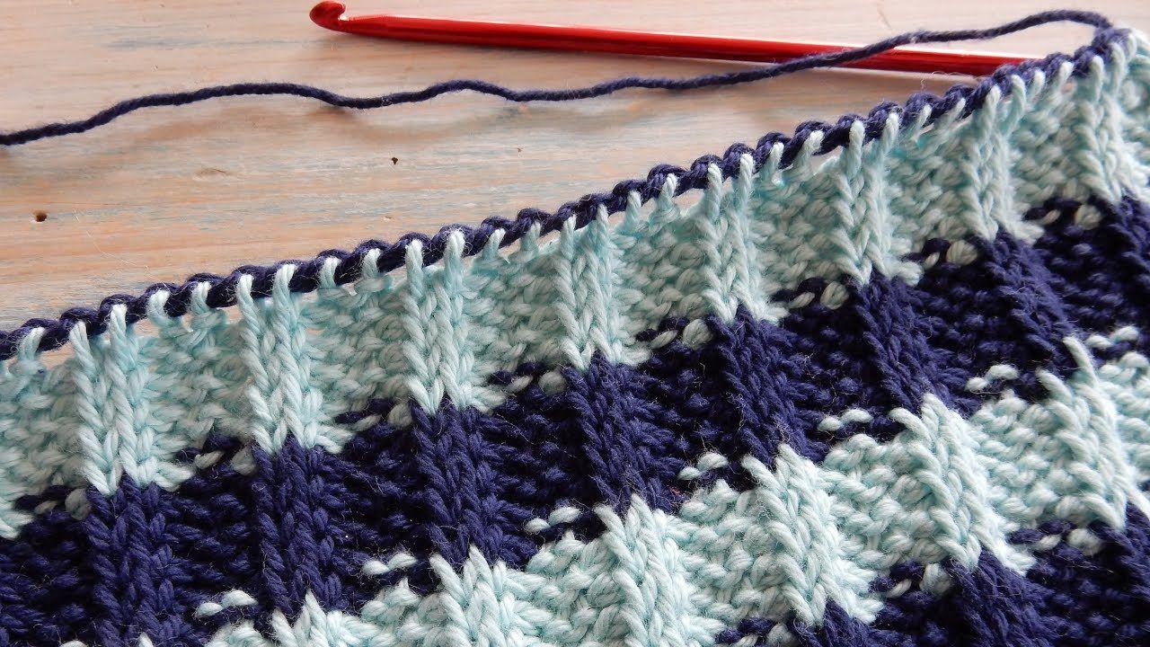 How to Crochet Tunisian Rib Stitch / Knit & Purl - YouTube | Needle ...