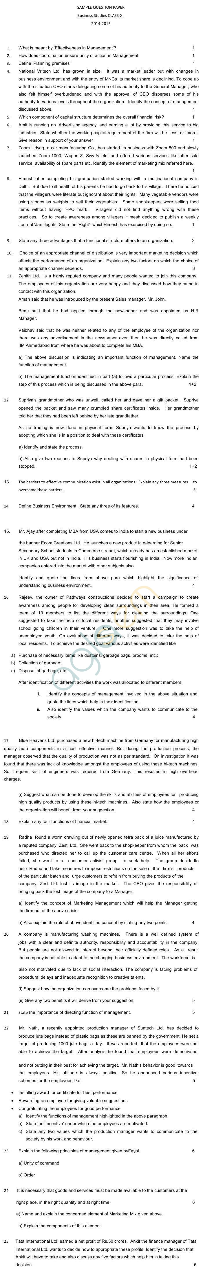 cbse sample papers for class business studies kashmir  cbse sample papers 2015 for class 12 business studies