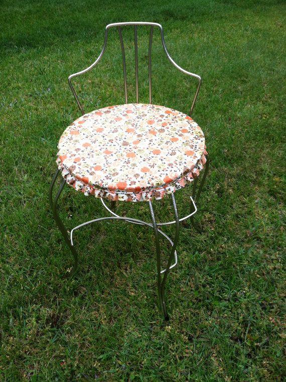 Vintage Brass Vanity Chair, Hollywood Regency, Floral White ...