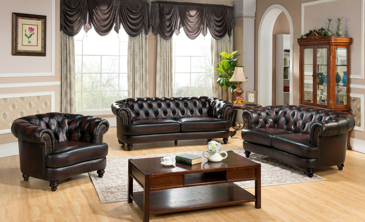 Mario Top Grain Leather Chesterfield Sofa Loveseat Set Rich