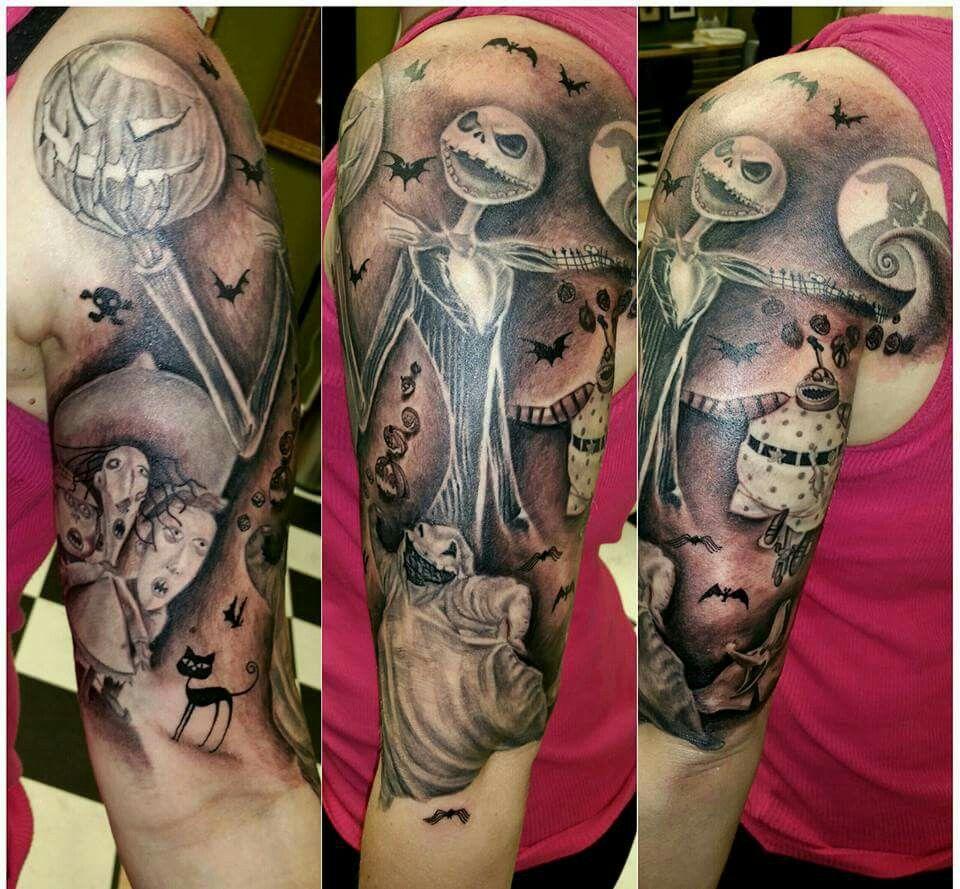 Nightmare before Xmas tattoo sleeve | Black & Grey art tattoos ...