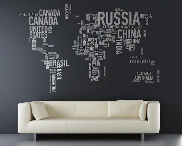 Kreative wandgestaltung mit buchstaben und schriften kreieren wall world map wall sticker others gumiabroncs Image collections