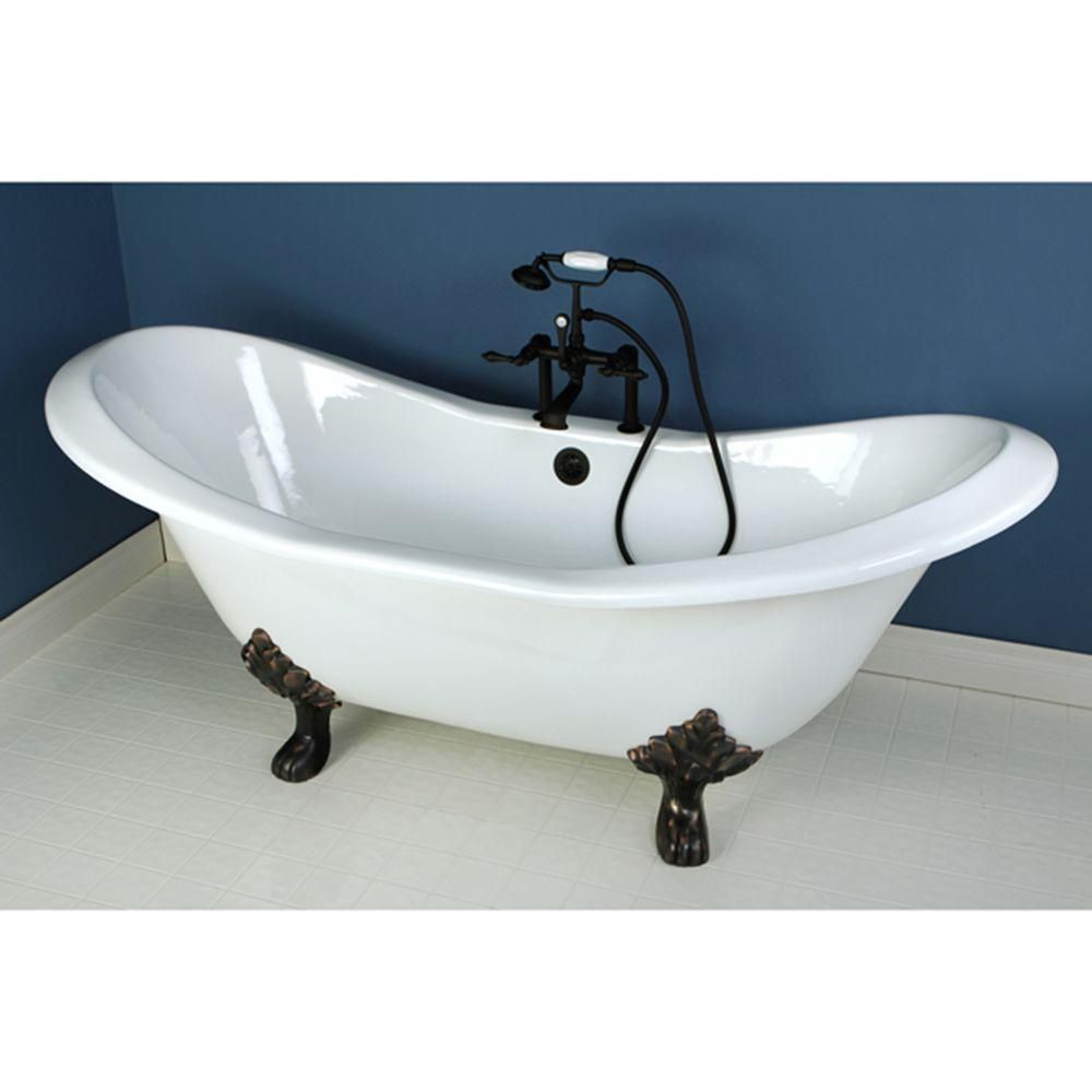 Aqua Eden 72 In Cast Iron Double Slipper Clawfoot Bathtub In Oil